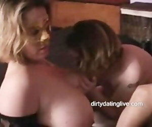 Thick hooter BBWs lick cunt..